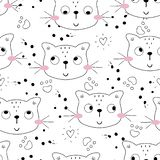 Seamless pattern with cute little cat. vector illustration. stock photo