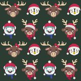 Seamless pattern with cute Christmas animals vector illustration