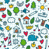 Seamless pattern with cute little drawings in the exercise book Royalty Free Stock Images