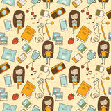 Seamless pattern with cute little girl Royalty Free Stock Image