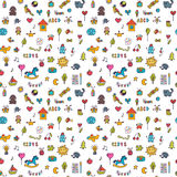Seamless pattern for cute little girls and boys. Doodle children background. Sketch set of drawings in child style. Vector illustration Royalty Free Stock Photography