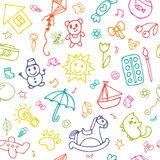 Seamless pattern for cute little girls and boys. Doodle children drawing background. Sketch set of drawings in child style. Vector illustration Stock Images