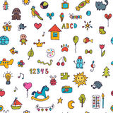 Seamless pattern for cute little girls and boys. Sketch set of d. Rawings in child style. Doodle children background. Vector illustration Royalty Free Stock Images