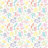 Seamless pattern for cute little girls and boys. Sketch set of drawings in child style. Doodle children drawing background Royalty Free Stock Images