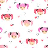 Seamless pattern with cute little girls faces. Seamless pattern with watercolor cute little girls faces and hearts Stock Image