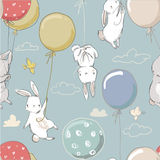 Seamless pattern with cute little hares Royalty Free Stock Image