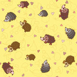 Seamless pattern with cute little hedgehogs Stock Photography