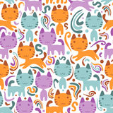 Seamless pattern with kittens Royalty Free Stock Photo