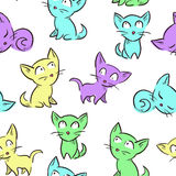 Seamless pattern with cute little kittens Stock Photography