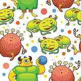 Seamless pattern of cute little monsters. Vector illustration Royalty Free Stock Photography