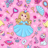 Seamless pattern with cute little princess Stock Photo