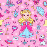 Seamless pattern with cute little princess Royalty Free Stock Photography