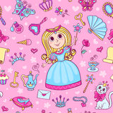 Seamless pattern with cute little princess Royalty Free Stock Image