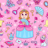 Seamless pattern with cute little princess with a diadem Royalty Free Stock Images