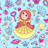 Seamless pattern with cute little princess in the yellow Stock Photo