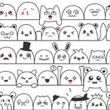 Seamless pattern with cute lovely kawaii monsters and animals. Doodle cartoon clouds with faces in manga style. Cute. Emoticon emoji hand drawn characters royalty free illustration