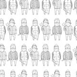 Seamless pattern with cute lumberjacks Stock Photos
