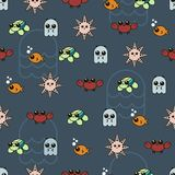 Seamless pattern cute marine Doodle vector set. Seamless pattern with cute octopus, fish, crab, starfish and turtle. Fabric prints background stock illustration