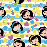 Seamless pattern of cute mermaid girls, stars and love shape on striped background  cartoon illustration for birthday wrappi. Ng paper, fabric clothes, and Royalty Free Stock Photography