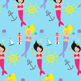 Seamless pattern with cute mermaides Royalty Free Stock Photos