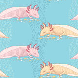 Seamless pattern with cute Mexican axolotl Royalty Free Stock Photo