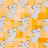 Seamless pattern with cute mice. Orange geometric background Royalty Free Stock Image