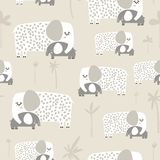 Seamless pattern with cute mom and baby elephant. Creative childish texture. Great for fabric, textile Vector Illustration.  vector illustration