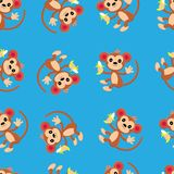 Seamless pattern with cute monkey and funny cartoon zoo animals on blue background. Colorful vector illustration for fabric print, wallpaper, wrapping paper stock illustration