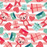 Seamless pattern of cute monkey and Valentine elements on striped background  cartoon illustration for Valentine wallpaper. Seamless pattern of cute monkey and Stock Photos