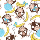 Seamless pattern with cute  monkeys and bananas. Cartoon  Royalty Free Stock Images