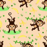 Seamless pattern with monkey and banana - vector illustration, eps royalty free illustration
