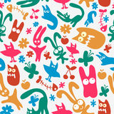 Seamless pattern with cute monsters Stock Photography
