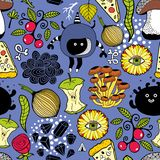 Seamless pattern with cute monsters and food. Seamless pattern with cute monsters and food . Cartoon vector illustration. Doodle endless wallpaper vector illustration
