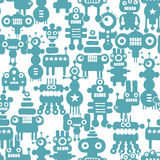 Seamless pattern with cute monsters and robots. Stock Photos