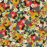 Seamless pattern with cute monsters. Vector illustration in bright colors. Hand drawn Stock Photography