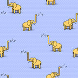 Seamless pattern with cute musical elephants. Vector background Royalty Free Stock Photos
