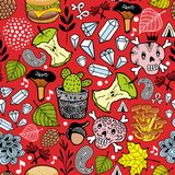 Seamless pattern with cute nature elements. Vector background with skull and food stock illustration