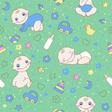 Seamless pattern with cute newborn baby boy Stock Images