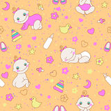 Seamless pattern with cute newborn girls. Stock Photos