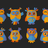 Seamless pattern with cute owl Vector image Royalty Free Stock Photo