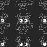 Seamless pattern with cute owl Vector image Stock Photos