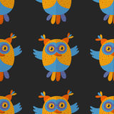 Seamless pattern with cute owl Vector image Royalty Free Stock Photography