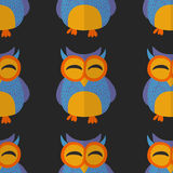 Seamless pattern with cute owl Vector image Royalty Free Stock Images
