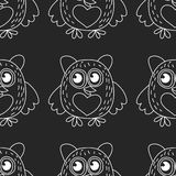 Seamless pattern with cute owl Vector image Stock Photo
