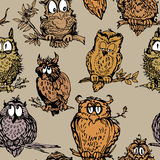 Seamless pattern with cute owls on branch. Hand drawn background Royalty Free Stock Images