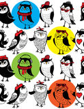 Seamless pattern with cute owls Stock Image