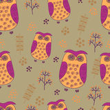Seamless pattern with cute owls Stock Photography