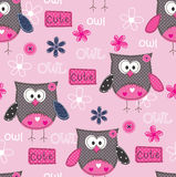 Seamless pattern with cute owls Stock Photo