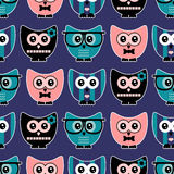 Seamless pattern with cute owls. Seamless pattern with cute various owls royalty free illustration