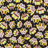 Seamless pattern with cute owls. Stock Photography